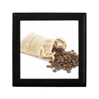 Little sackcloth with coffee beans trinket box