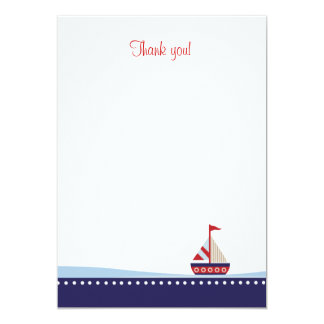 """Little Sailboat Flat Thank You note 5"""" X 7"""" Invitation Card"""