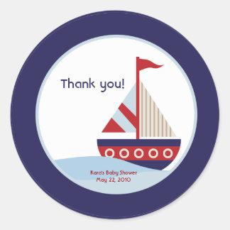 Little Sailboat Navy Boat Baby Shower Favor Round Sticker