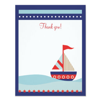 "Little Sailboat Navy Naut 4x5 Flat Thank you note 4.25"" X 5.5"" Invitation Card"