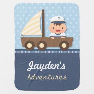 Little Sailor Boy Nautical Theme For Babies Baby Blanket
