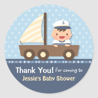 Little Sailor Nautical Baby Shower Party Round Sticker