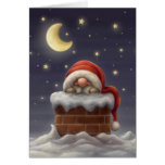 Little Santa in a chimney Greeting Card