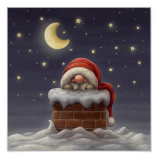 Little Santa in a chimney Poster