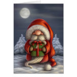 Little Santa with a gift Greeting Card