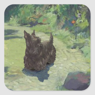 Little Scottie in the Garden Square Sticker