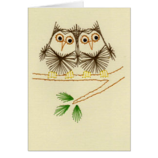 Little Screech Owls Embroidery Cards