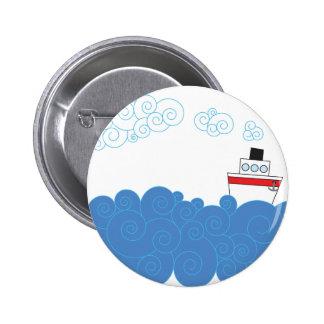 Little ship on sea 2 inch round button