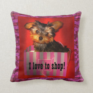 Little Shopper Yorkie Throw Pillow