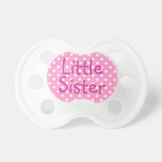 Little Sister and White Polka Dot Pacifier