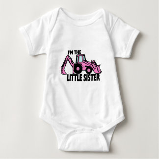 Little Sister Backhoe Baby Bodysuit