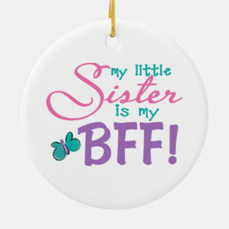 Little Sister BFF Butterfly Ceramic Ornament