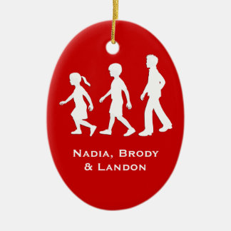 Little Sister, Big Brothers: Silhouette Siblings Ceramic Oval Ornament