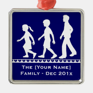 Little Sister, Big Brothers: Silhouette Siblings Metal Ornament