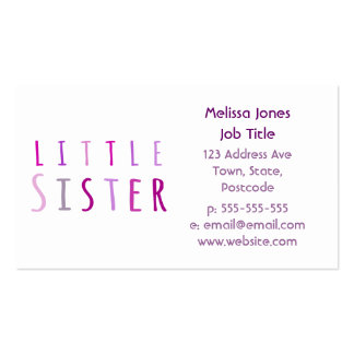Little sister in pink pack of standard business cards