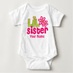 Little Sister Pink and Green Personalized Shirt