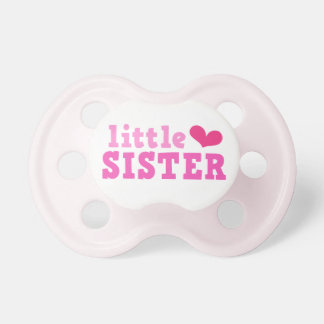 Little sister pink text with cute heart custom pacifier