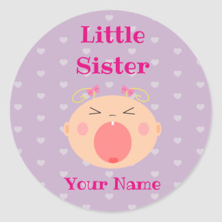 """Little Sister"" Sticker with Crying Baby"