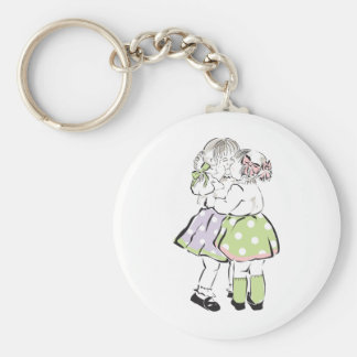 Little Sisters Basic Round Button Keychain