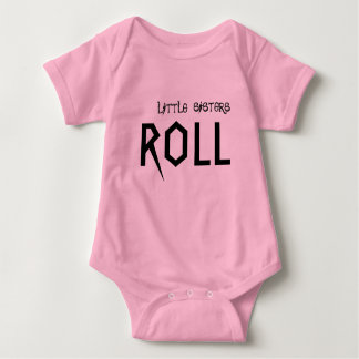 Little sisters know how to roll! baby bodysuit