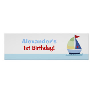 Little Skipper Sailboat Custom Banner Poster Print