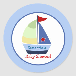 Little Skipper Sailboat Round Custom Favor Sticker