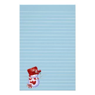 Little Snowman in Red Hat Stationery Design