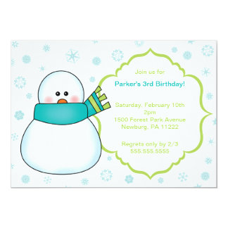 Little Snowman Winter Birthday Party Invite