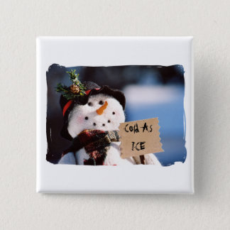 Little Snowman With Customizable Sign 2 Inch Square Button