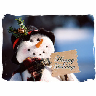 Little Snowman With Customizable Sign Photo Sculpture Ornament