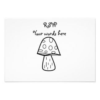 Little spotted black and white mushroom personalized invite