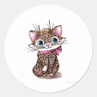 Little spotted kitten round sticker