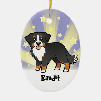 Little Star Bernese Mountain Dog Ceramic Oval Ornament