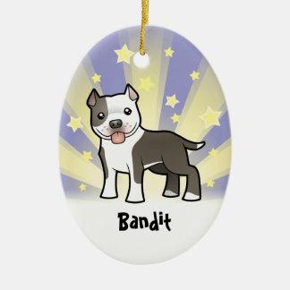 Little Star Pitbull/American Staffordshire Terrier Ceramic Oval Ornament