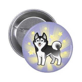 Little Star Siberian Husky / Alaskan Malamute 2 Inch Round Button