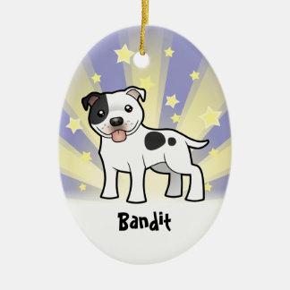 Little Star Staffordshire Bull Terrier Ceramic Oval Ornament