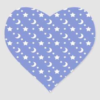 Little Stars and Moons Pattern on Blue Heart Sticker