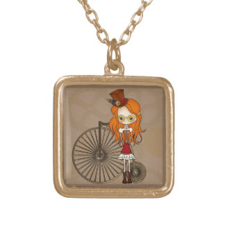 Little Steampunk Sweetheart Cartoon Gold Plated Necklace