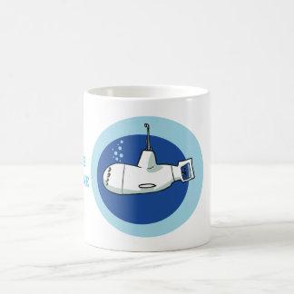 little submarine cartoon style illustration coffee mug