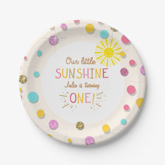 Little sunhine Paper Plates Birthday Girl Pink