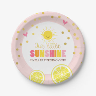 Little sunhine Paper Plates Birthday Lemonade Pink