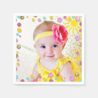 Little sunshine Paper Napkin Pink Gold Lemonade
