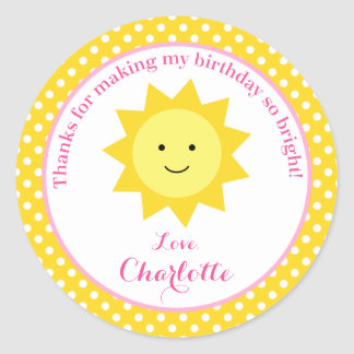 Little Sunshine Pink Yellow Birthday Party Favor Round Sticker
