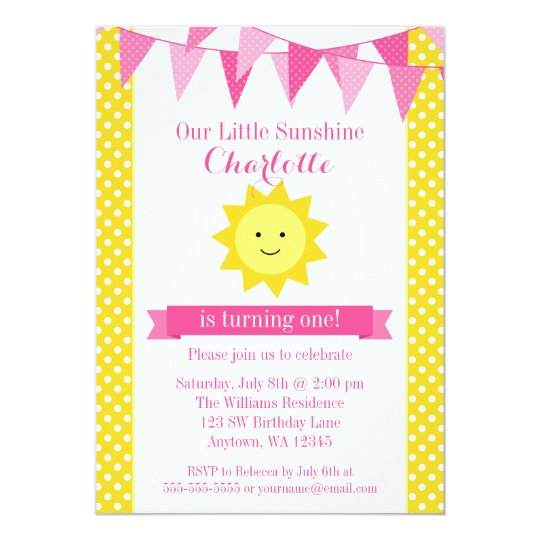 Little Sunshine Pink Yellow Bunting Birthday Card Zazzle