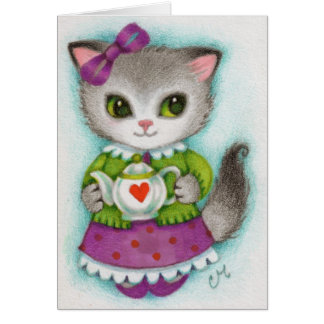 Little Teapot - Cute Cat Art Card