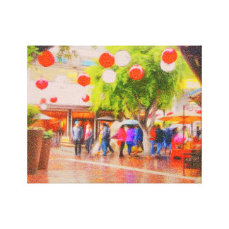 Little Tokyo Impressionistic Painting Canvas Print