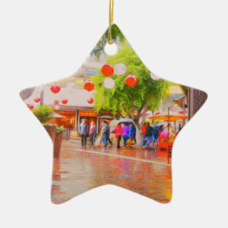 Little Tokyo Japanese village Painting Ceramic Ornament