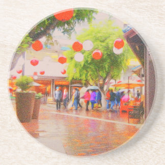 Little Tokyo Japanese village Painting Drink Coasters