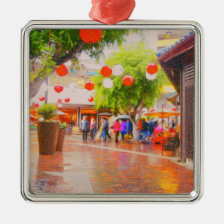 Little Tokyo Japanese village Painting Metal Ornament