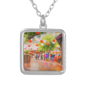 Little Tokyo Japanese village Painting Silver Plated Necklace